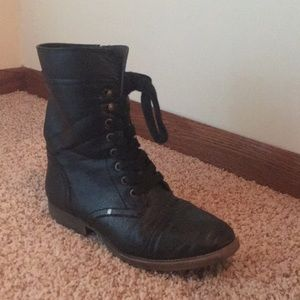 Shoes - Black Sparkly Lace Up Boots